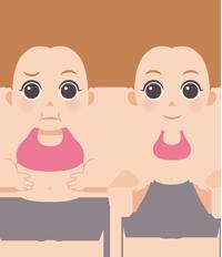 太っている女性と痩せている女性