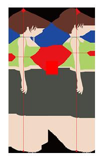 不良姿勢(左側)と良い姿勢(右側)の比較図